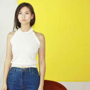 70s White Knit Ribbed Halter Top / Small