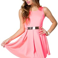 Buckle Pleat Flare Dress