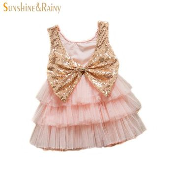 Sunshine & Rainy Girls Sequins Dress Big Bow Baby Girl Tutu Dress Flower Girls Princess Costume For Wedding Party Vestidos