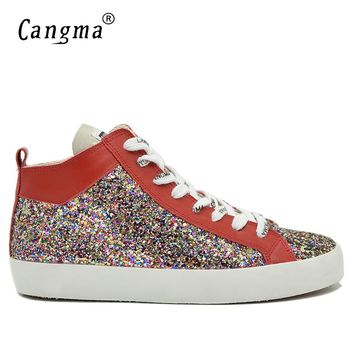 CANGMA Italy Designer Brand Sneakers Men Sequined Casual Shoes Mid Flats Man's Multi-Colored Glitter Shoes Breathable Trainers
