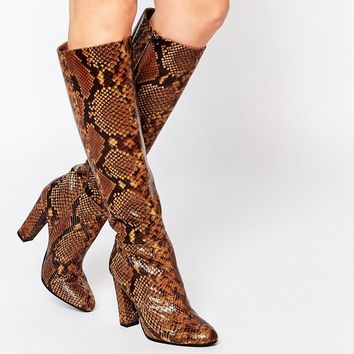 ALDO Etassi Snake Effect Leather Heeled Knee Boots