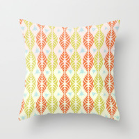 Retro Geometric Stripe with Blue Splats Throw Pillow by RunnyCustard Illustration