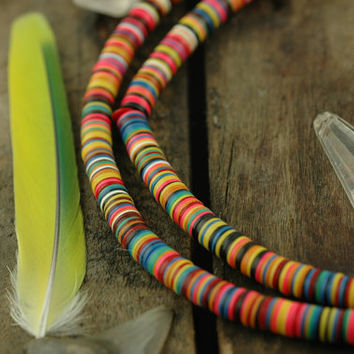 Neon Queen: African Vinyl Record Disc Beads, Heishi / Tribal Multi-Colored Neon Fun / 6x.5mm / Summer Fashion, Jewelry Making Supplies