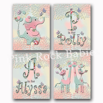 Twins nursery wall art baby girl room decor custom baby name kids room decoration siblings artwork elephant giraffe monogram initial poster