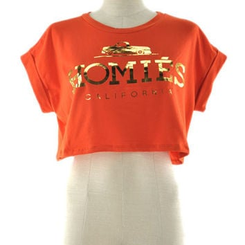 Homies California Crop Top - Orange + Gold