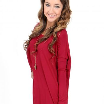 PIKO: Wine Love On Top Long Sleeve Tunic | Monday Dress Boutique