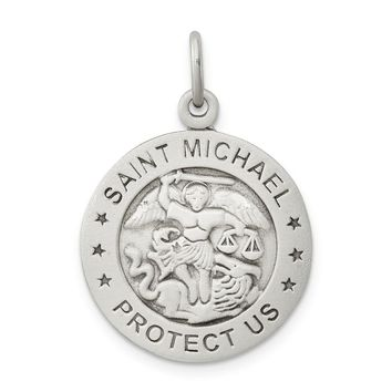 925 Sterling Silver Antiqued Saint Michael Marine Corp Medal