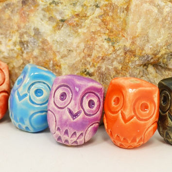 Handmade Ceramic beads buttons  colorful owls with a vertical hole