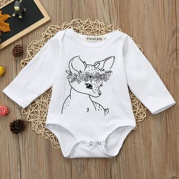 MUQGEW Baby Boy Clothes Girl Jumpsuits Winter Newborn Baby Clothes Toddler Deer  Print Romper Jumpsuit Outfits Clothes