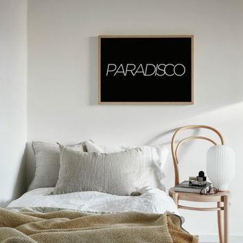 Printable ''Paradisco'' Poster, Home decor, Wall Decor, Dorm Decor, Office Decor, Instant Download, Dorm Posters, Dorm Wall Art
