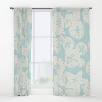 Cream Seashells on Aqua Window Curtains by Noonday Design