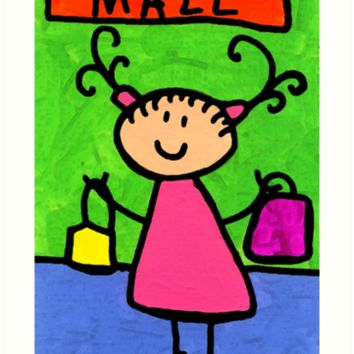 'Happi Arti 5 - Shopaholic Little Girl Art' Art Print by Sharon Cummings