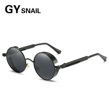 GYSNAIL Polarized Steampunk Sunglasses Men Round Gothic SteamPunk Goggles Vintage Women sunglass male sun Glasses driving oculos