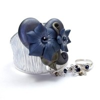 Handmade Slave Bracelet Ring w Polymer Heart and Flowers Gray and Blue