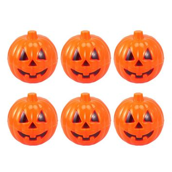 6pcs Plastic Pumpkin Shaped Storage Box Case Container Halloween Mini Gift Holder Props For Halloween Decoration