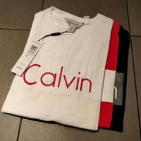Calvin Klein new chest classic logo printed letter trend short sleeve F-CY-MN