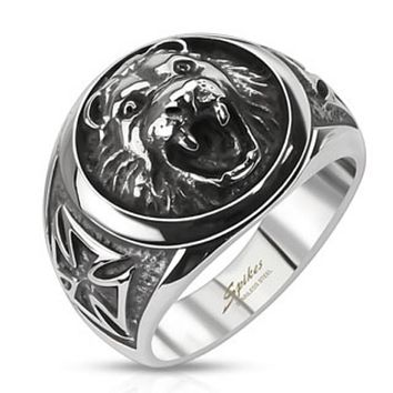 Lion Head w/ Celtic Cross Cast Ring Stainless Steel