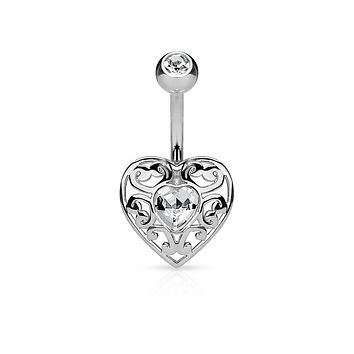 Vintage Filigree Heart with Heart Crystal Center 316L Surgical Steel WildKlass Belly Button Navel Rings