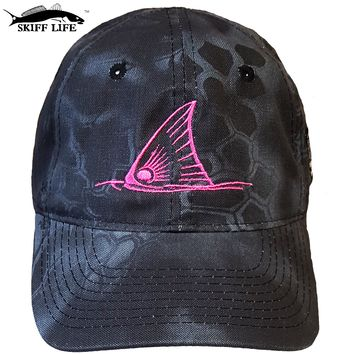 Typhon Black Camo Hat with Pink Custom Fish Designs
