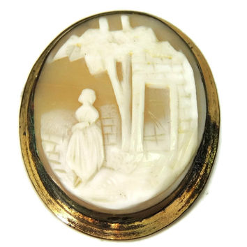 1870s Shell Cameo Brooch Large Scenic Carving Gold over Brass Needs Pin Hardware