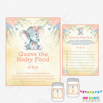 Guess the Baby Food, Elephant Baby Shower Games, Printable Baby Shower Games Girl, Watercolor Baby Shower, Floral Pink Instant Download ELWP