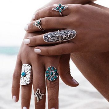Bohemian Blue Faux Stone Vintage Retro Totem Carve Arrow Ring Set Ethnic Anillos Anel Midi Index Finger Rings Luck Punk Bijoux