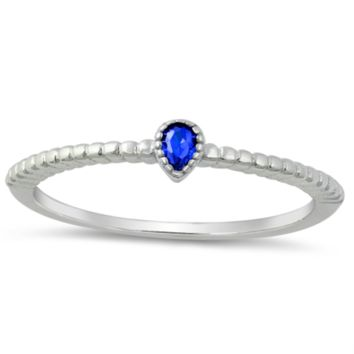 .925 Sterling Silver Pear Cut Blue Sapphire Ring Ladies and Kids Size 4-10 Midi Band Thumb Knuckle