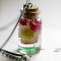 45x20mm Glass Resin Real Flowers Floral Daisy Daisies Romatic cute gift Glass Bottle Neclace Jewelry pendants Red White Clover Green water