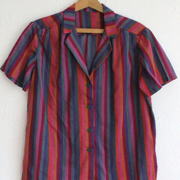 Vintage 60s Fuchsia Bright Striped Cotton Blouse // Short Sleeve Button Up Top