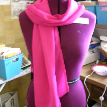 Bright Pink Sheer Crepe Long Scarf- Free shipping in USA