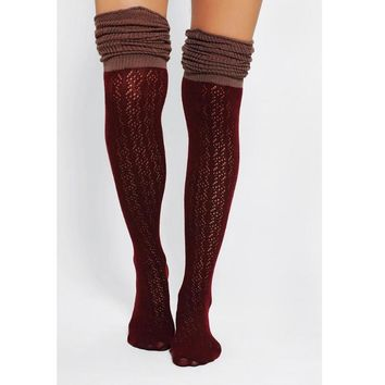 Hollow out mesh over-the-knee double-color fold agaric edge boot leg warmers cotton socks Wine red