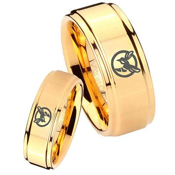 His Her Glossy Step Edges Honey Bee 14K Gold IP Tungsten Wedding Rings Set