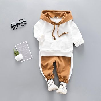 Toddler Baby Boy Hooded Casual Clothing Set Sweatshirt Long Sleeve Autumn Boys Kids Outfits Tracksuit Suits Children Clothes