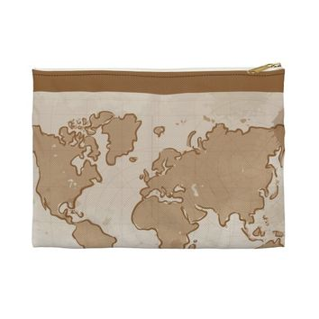Vintage World Map Make Up Bag  Accessory Pouch