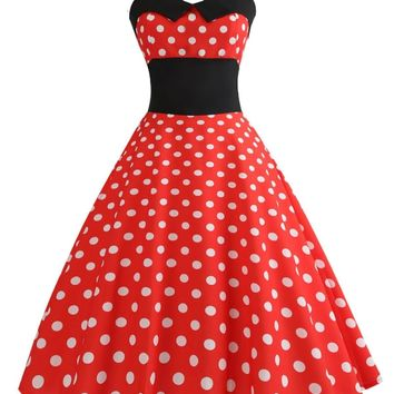 Special Red 1950s Polka Dot Bow Dress