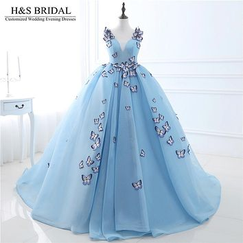 H&S BRIDAL V-neck Blue prom dress With Butterfly Backless ball gown prom dresses Lace Up Princess elegant evening gowns 2017