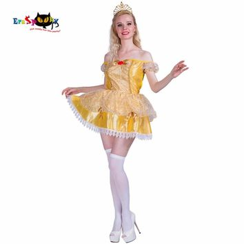 2017 Carnival Anime Clothing Golden Princess Dress Beauty and the Beast Dress Mini Fancy Dresses Women Costume Cosplay Costumes