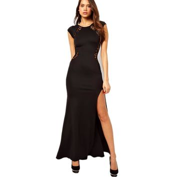 malianna Summer Women Short Sleeve O-Neck Lace See-through Back Slim Bodycon High Split Side Maxi Black Long Party Dress
