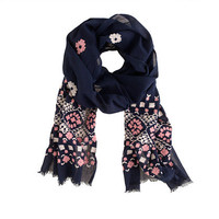 Embroidered scarf - scarves & hats - Women's accessories - J.Crew