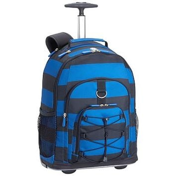 Gear-Up Blue/Navy Rugby Stripe Rolling Backpack