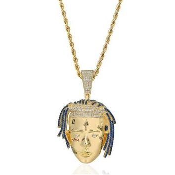 Personalized Rapper XXXTentacion Pendant Necklace Men Iced Out CZ Chains Hip Hop/Punk Gold Color Charms Jewelry Gifts