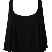 Black Layered Twisted Back Crop Top