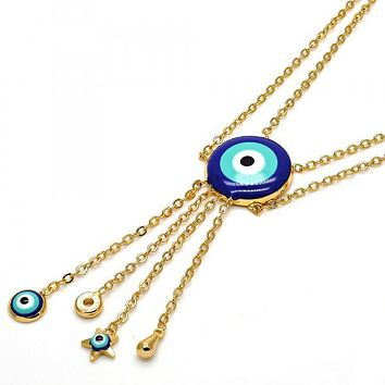 Gold Layered Fancy Necklace, Greek Eye and Star Design, Gold Tone