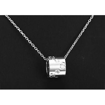 GUCCI fashion elegant men and women tide section ring pendant casual fashion necklace F-HLYS-SP Silver