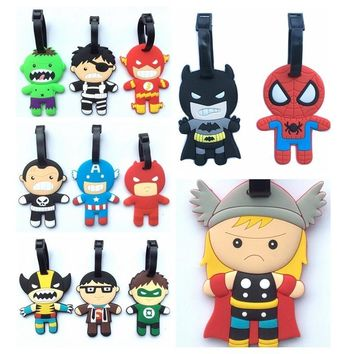 Batman Dark Knight gift Christmas TwelveType Super Hero Batman Captain America Creative Silicone Luggage Tag Pendants Hang Tags Tourist Products Toy Figure 1pc AT_71_6