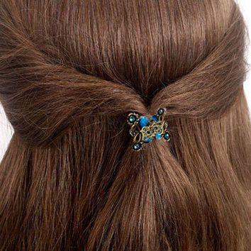 PEAPGC3 2017 Hot Sale Alloy hairpins Crab claw clip Retro Mini Butterfly Headband hairpin Women's Hair Accessories
