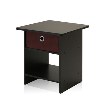 Furinno 10004EX/BR End Table/Night Stand Storage Shelf with Bin Drawer Dark Espresso Finish Espresso/Brown