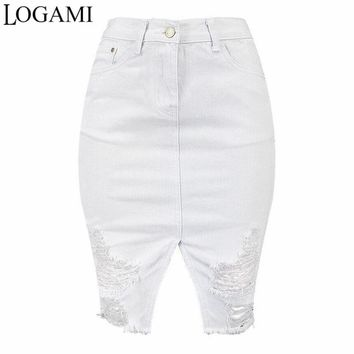 LOGAMI High Waist Ripped Bodycon Denim Skirts Womens White Midi Jeans Skirt Women Sexy Pencil Skirt