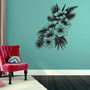 Tropical Hibiscus Flowers Silhouette Vinyl Wall Decal Sticker Graphic