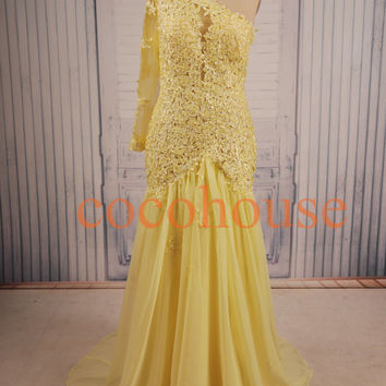 Yellow Lace Beaded Long Prom Dresses Fashion Evening Gowns Wedding Dresses Formal Evening Dresses Wedding Party Dresses Wedding Dresses 2015